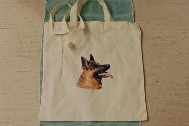 fabric bag with dog motif